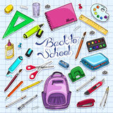 Vector illustration of Back to School supplies. Stickers school supplies. Stock Images