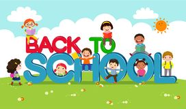 Back to school vector banner with school kids characters stock illustration