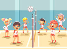 Vector illustration back to sport school children character schoolgirl schoolboy pupil classmates team game playing. Stock vector illustration back to sport Stock Images