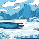 Vector illustration, background (Antarctica). Vector illustration, winter background (Antarctica stock illustration