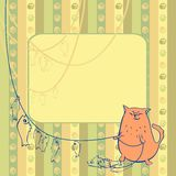 Vector illustration background cat fisherman Stock Photography