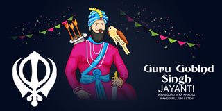 Celebrate Guru Gobind Singh Jayanti. Vector illustration of a Background for Celebrate Guru Gobind Singh Jayanti Royalty Free Stock Photo