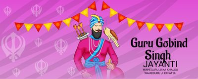 Celebrate Guru Gobind Singh Jayanti. Vector illustration of a Background for Celebrate Guru Gobind Singh Jayanti Royalty Free Stock Photography