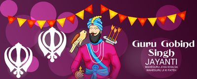 Celebrate Guru Gobind Singh Jayanti. Vector illustration of a Background for Celebrate Guru Gobind Singh Jayanti Royalty Free Stock Photos
