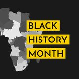 Vector illustration background concept for Black history month. Yellow frame for text. Grey map of Africa vector illustration