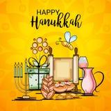 Happy Hanukkah Jewish holiday. Vector Illustration of a Background for Happy Hanukkah Jewish holiday Royalty Free Stock Photo