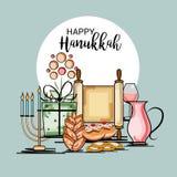 Happy Hanukkah Jewish holiday. Vector Illustration of a Background for Happy Hanukkah Jewish holiday Stock Photography