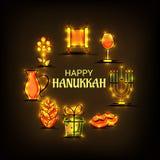 Happy Hanukkah Jewish holiday. Vector Illustration of a Background for Happy Hanukkah Jewish holiday Stock Photo