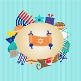 Happy Hanukkah greeting card design. Vector illustration of a Background For jewish holiday Hanukkah with menorah donuts and dreidels Stock Photo