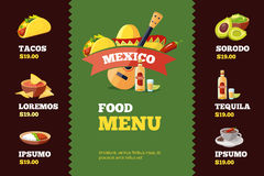 Vector illustration of background restaurant menu template with Mexican food. Royalty Free Stock Images