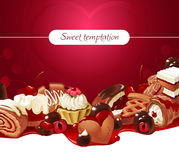 Vector illustration background of sweets. Vector illustration background of sweet cakes, biscuits and chocolate candies. Frame made of sweets stock illustration