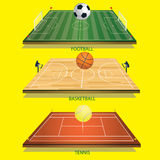 Vector illustration background tennis field 3D tennis ball. Football 3D and football-basketball court 3D basketball Royalty Free Stock Photos