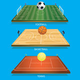 Vector illustration background tennis field 3D tennis ball. Football 3D and football-basketball court 3D basketball Stock Photos