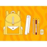 Vector illustration, backpack, pen, pencil, brush, eraser, line Stock Images