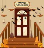 Vector illustration with backyard, stairs, pumpkins, bat in flat style. Stock Photos