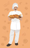 Vector illustration of baker, holding a basket with Bakery products on vintage background. Royalty Free Stock Images