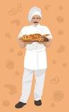 Vector illustration of baker, holding a basket with Bakery products on vintage background. stock illustration