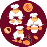 Vector illustration baker making bread. Vector illustration three bakers making bread.Hand drawn in cartoon style Royalty Free Stock Photos