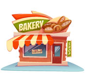 Vector illustration of bakery building with bright Stock Image