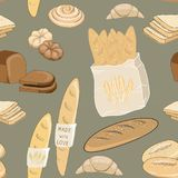 Vector illustration of bakery products. Rolls, bread, baquettes and croissants on green background. Seamless pattern. Hand drawn bakery products on green royalty free illustration