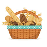 Vector illustration for bakery shop. Basket with wheat and fresh bread. Bakery bread in wicker basket, food healthy breakfast stock illustration