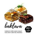 Vector hand drawn watercolor illustration of middle eastern dessert Baklava. Vector illustration Baklava. Hand drawn middle eastern dessert with walnut stock illustration