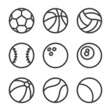 Vector sports outline con set vector illustration
