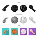 Vector illustration of ball and soccer logo. Set of ball and basketball stock symbol for web. Isolated object of ball and soccer icon. Collection of ball and vector illustration