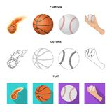Vector illustration of ball and soccer symbol. Set of ball and basketball stock symbol for web. Isolated object of ball and soccer sign. Collection of ball and vector illustration