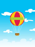 Vector illustration of balloon aerostat flying high on sky cloud Royalty Free Stock Photos