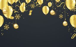 Vector illustration balloon of happy new year gold and black col stock illustration