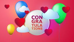 Vector balloons with congratulations. A vector illustration of balloons with different colors and clouds, hearts and the inscription 'Congratulations vector illustration