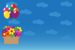 Vector illustration with balloons and flowers Stock Photo
