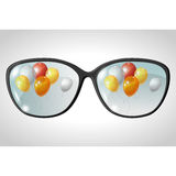 Vector illustration of balls, reflected in the Royalty Free Stock Image