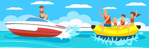 Vector illustration Banana Boat with group. Banana Boat with group. Happy people on vacation. Holidays on the sea. Beach activities. Family is riding a Banana stock illustration