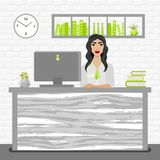 Vector illustration of bank office manager woman at her desk. Bank Service Royalty Free Stock Images