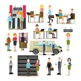 Bank people vector flat icon set. Vector illustration of bank teller, managers and customers, armed collectors and security guard. Bank people symbols, icons Stock Photos
