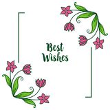 Vector illustration banner best wishes with ornate purple wreath frame. Hand drawn royalty free illustration