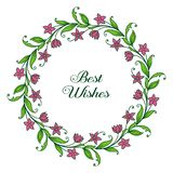 Vector illustration banner best wishes with ornate purple wreath frame. Hand drawn stock illustration