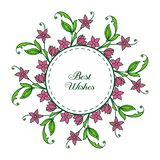Vector illustration banner best wishes with ornate purple wreath frame. Hand drawn vector illustration