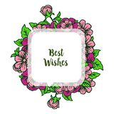 Vector illustration banner best wishes with various ornate of colorful flower frames. Hand drawn vector illustration