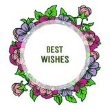 Vector illustration banner best wishes with various ornate of colorful flower frames. Hand drawn royalty free illustration