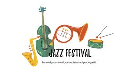 Musical event icon. Vector illustration, banner design template with musical instruments. Musical event icon. Template for music festival, jazz party royalty free illustration