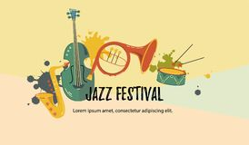 Musical event icon. Vector illustration, banner design template with musical instruments. Musical event icon. Template for music festival, jazz party stock illustration