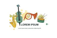 Musical event icon. Vector illustration, banner design template with musical instruments. Musical event icon.Template for music festival, jazz party, invitation royalty free illustration
