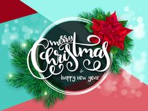 Vector illustration of banner with hand lettering label   Royalty Free Stock Images