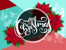 Vector illustration of banner with hand lettering label - merry christmas sale - with poinsettia flowers and shiny Royalty Free Stock Photography