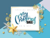 Vector illustration of banner with hand lettering label - merry christmas sale - with stars, sparkles, snowflakes and royalty free illustration