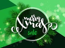 Vector illustration of banner with hand lettering label - merry xmas sale - with fir-tree branches and shiny flares.  Royalty Free Stock Photography