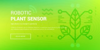 Hi-tech Robotic Plant Sensor. Vector illustration of banner with hi-tech robotic plant sensor icon on green background Royalty Free Stock Photography